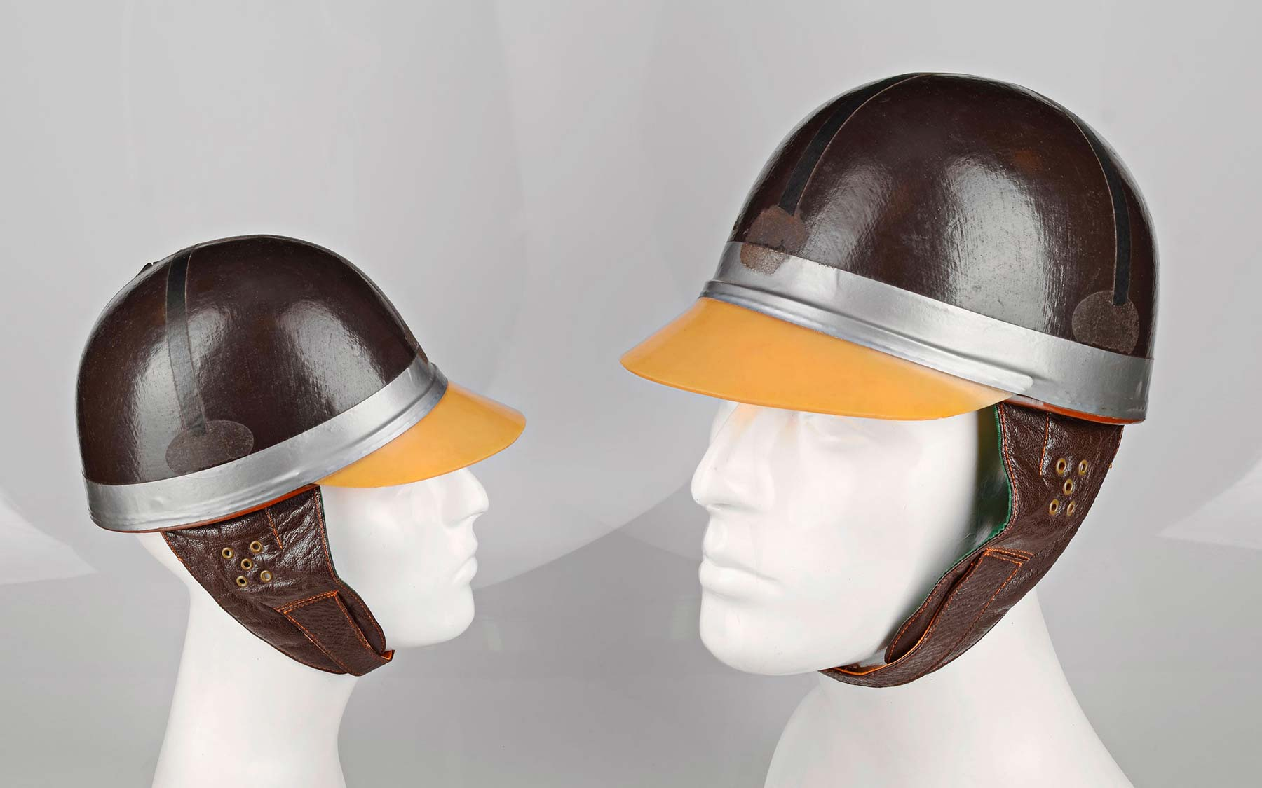 First leather hard helmets.